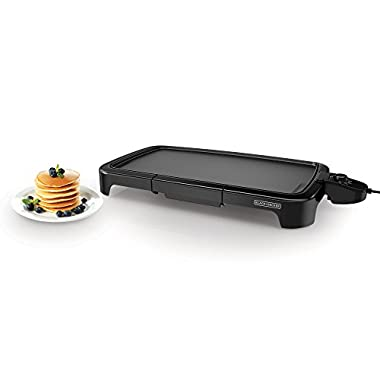 BLACK+DECKER GD2011B Family Sized Electric Griddle, 20 x 11-Inch, Black