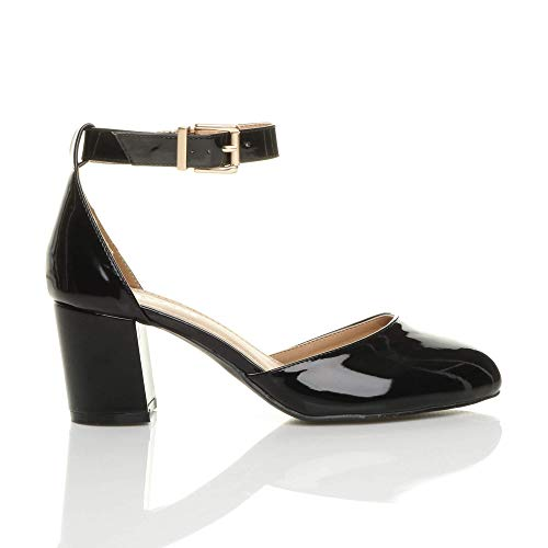 De Talon Sangle D'orsay Sandales Moyen Chaussures Escarpins Noir Cheville Vernis Soir Professionnel Femmes Pointure UtqnBWB