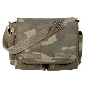 Woodland Camouflage Mini Messenger Bag Heavyweight Cotton Canvas Shoulder Bag with official Army Universe Pin