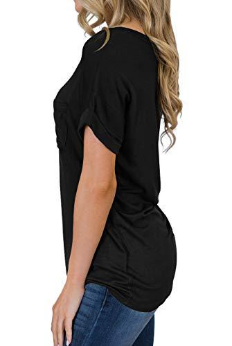 PrinStory Women's Casual Tops Short Sleeve V-Neck Shirts Loose Blouse Basic Tee T-Shirt 2