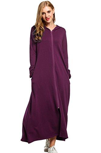 Zeagoo WoMens Plus Size Long Ultra-Soft Fleece Hoodie Robe,Wineberry,XX-Large
