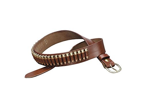 TRIPLE K 10029 100 Heavy Saddle Leather Pistol Cartridge Belt, Walnut Oil, Plain Finish ()
