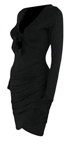 Cromoncent Femmes Bandage Profond Sexy V-cou Coupé Club Mini-robe Noire Moulante