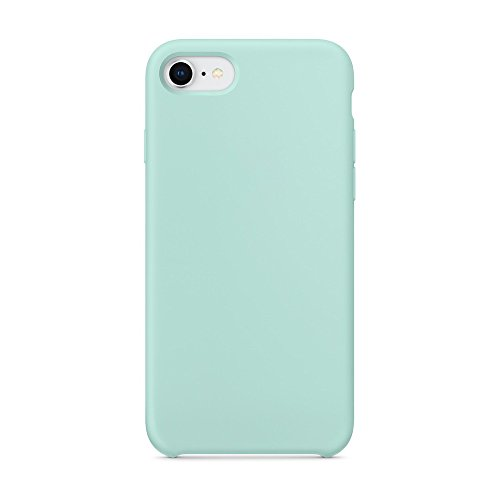 e 7 Silicone Case, SURPHY Liquid Silicone Slim Fit Rubber Shockproof Protective Phone Case Cover with Soft Microfiber Lining for Apple iPhone 8 iPhone 7 4.7 inches, Mint Green ()