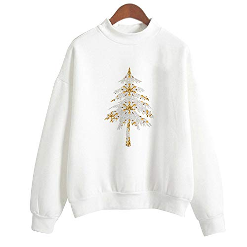 della Natale Felpa Bianca1 Hooded Accostare Maglietta Lampo Punti Donne Donne Piebo Stampa Camicetta Chiusura Tops w5v6IqTF