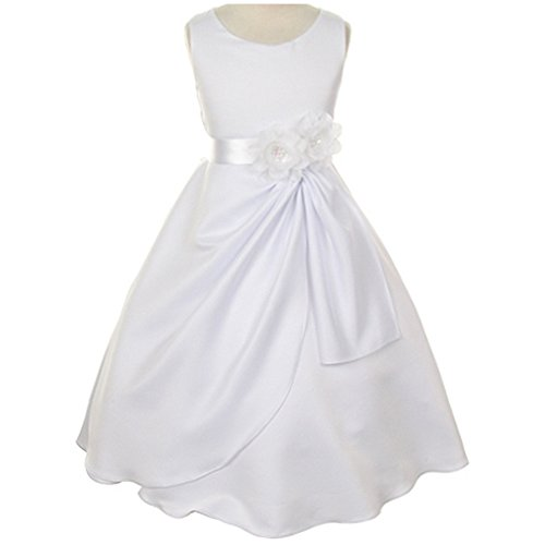 Sequin Flowers Brooch (Big Girls Sleeveless Satin Communion Dress Cascading Skirt Satin Sash Sequin Flower Brooch White - Size 12)