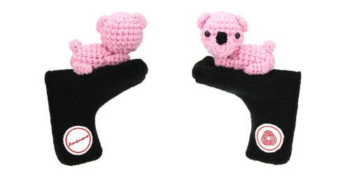 Amimono Bear Putter Golf Head Cover, Black/Pink