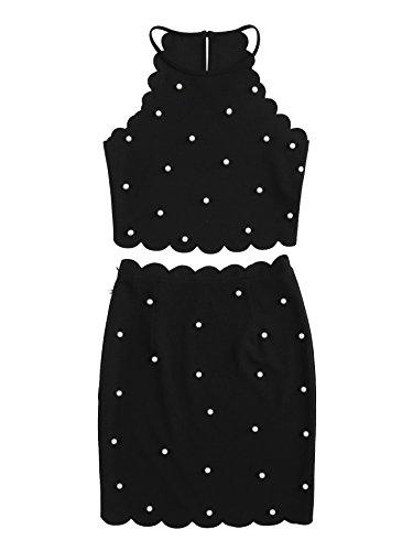 (MakeMeChic Women's 2 Piece Scallop Halter Crop Cami Top and Pencil Mini Skirt Set Black L)