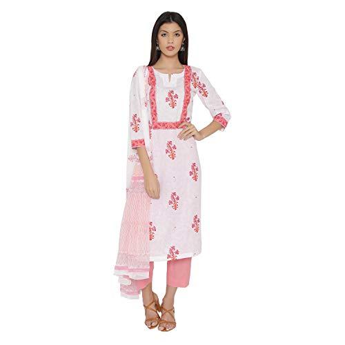 (PinkShink White and Pink Cotton Block Printed Readymade Salwar Kameez Dupatta Set (XL) d273xl)