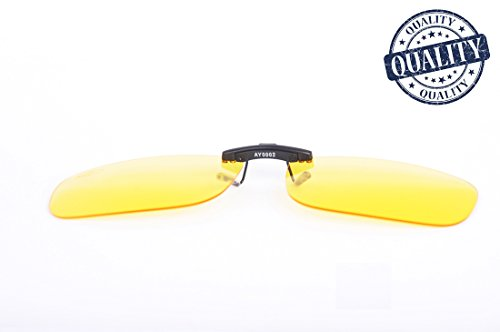 AHT Night Vision Glasses Clip-on,Anti Glare from Headlights of Vehicles,Foggy Days Rainy Days for Driving Safety,Super Light ,Man and - Driving Night Amber Glasses