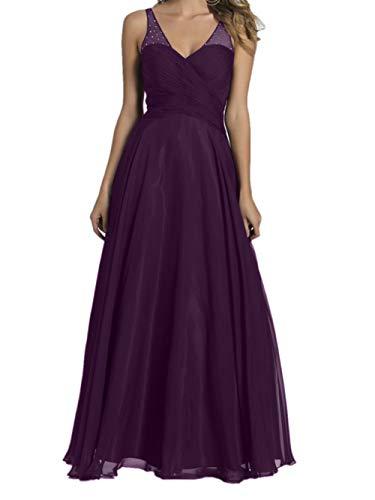 Abendkleider Chiffon Brautjungfernkleider Braut Marie Traube V Lang Ausschnitt Burgundy La Promkleider qAXYw1xf