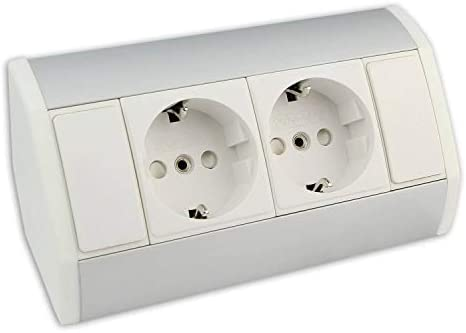 Muebles - caja de enchufe blanca con 2x Schuko - caja de enchufe angular de aluminio de alta