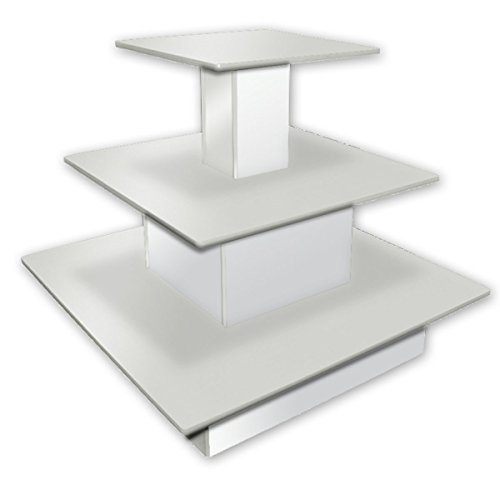 Rolling 3-Tier Square Table Designer Retail Store Boutique Clothing Display White New by Bentley's Display