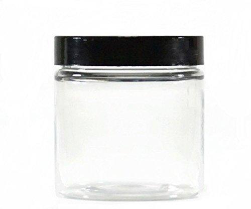Premium Vials - Clear 8 oz Plastic Jar Black Lid - Pack of 12 (Lids Plastic Vials With)