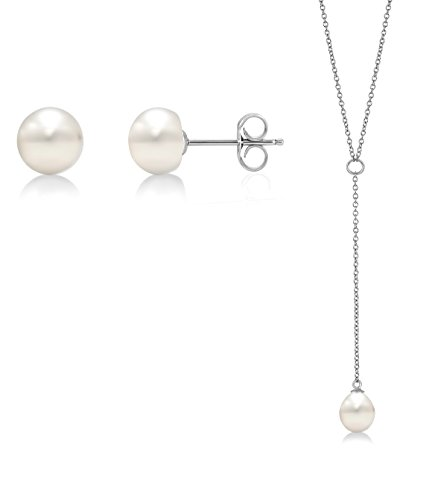 9mm Cultured Pearl Ring (Sterling Silver Freshwater Cultured Pearl Earrings and Necklace Set (8.5-9mm))