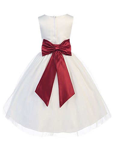 Bello Giovane Tulle Flower Girl Dress with Colored Satin Sash and Bow (8, Burgundy)