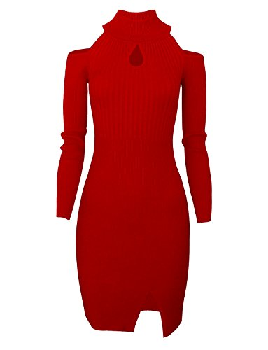 Tom's Ware Women Casual Slim Fit Knit Front Keyhole Sweater Bodycon Dress TWCWD076-RED-US M