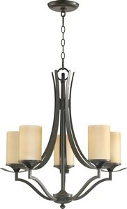 Quorum International 6096-5-86 Atwood Collection 5-Light Chandelier, Oiled Bronze Finish with Amber Scavo Glass - Forged Bronze Six Light Pendant