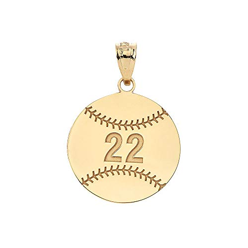 Sports Charms 14k Yellow Gold Personalized Baseball/Softball Pendant with Your Name and Number ()