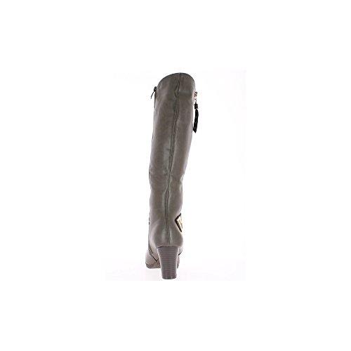 Bottes femme grises fourrées à talon de 6,5cm et fermeture éclair