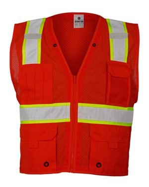ML Kishigo Men's Enhanced Visibility Multi-Pocket Mesh Vest — Red, Large/XL, Model# B-103-L-XL