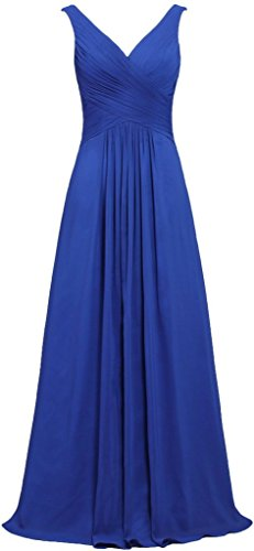 ANTS Women's V Neck Sleeveless Long Bridesmaid Dresses Chiffon Gowns