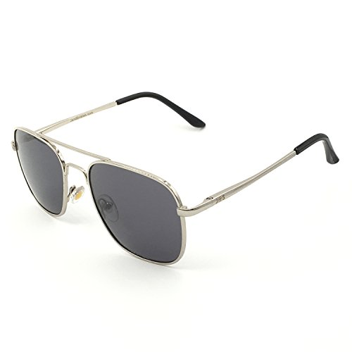 J+S Premium Military Style Classic Aviator Sunglasses, Polarized, 100% UV protection (Medium Square Frame - Silver Frame/Gray Square Lens)