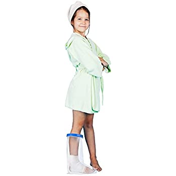 Keep Casts & Bandages Totally Dry for Shower, Bathing Or Swimming. Heavy Duty Vinyl is Durable Yet Lightweight and Reusable. (Kids Leg Half)
