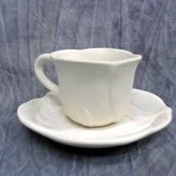 Bisque - Flower Tea Cup & Saucer (Unpainted, ready for glaze)