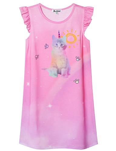 Cat Nightgown for Girls 7-16 Nightdress Summer Sleeveless Nighty Navy Blue