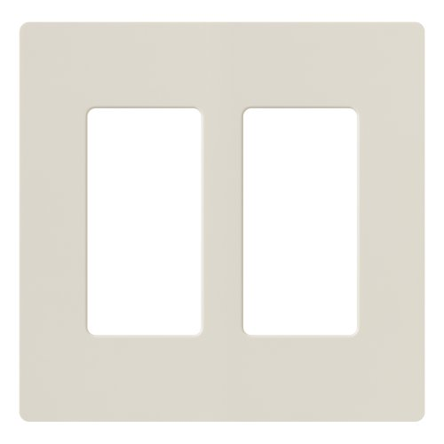 Lutron Claro 2 Gang Decorator Wallplate, CW-2-LA, Light Almond (Light Almond Gang)