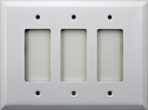 Over Sized Jumbo Smooth White Three Gang GFI/Rocker Switch Plate
