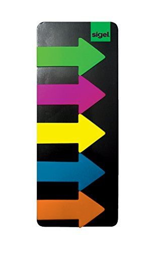 Sigel HN600 Arrow Page Markers, Sticky Flags, Index Tab Flags, Film, removable, with sticky tip and transparent non-adhesive strip for notes, 0.98 x 1.77 inches, 125 strips on a board - Free Arrow Flag