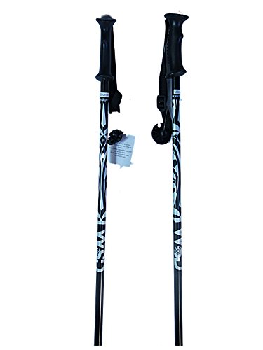 WSD Ski Poles Downhill/Alpine Aluminum Black/Silver Ski Poles Pick Size Pair with Baskets 2018 Model