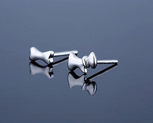 Minimalist Sterling Silver Stud Earrings Dog and bone Earrings