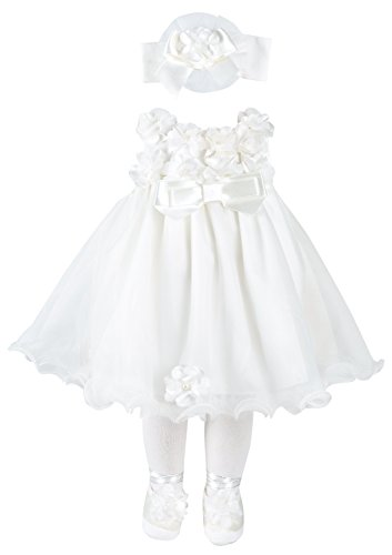 Taffy Baby Christening Baptism 3D Flower Dress Gown 6 Piece Deluxe Set 0-3 Months (Piece Gown Set 3)