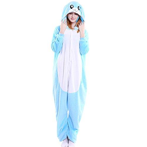 Fisher Woman Halloween Costume (Fleeced Hoodie Costume Halloween Onesie Pajamas for Unisex Adults Teens Blue Rabbit M)