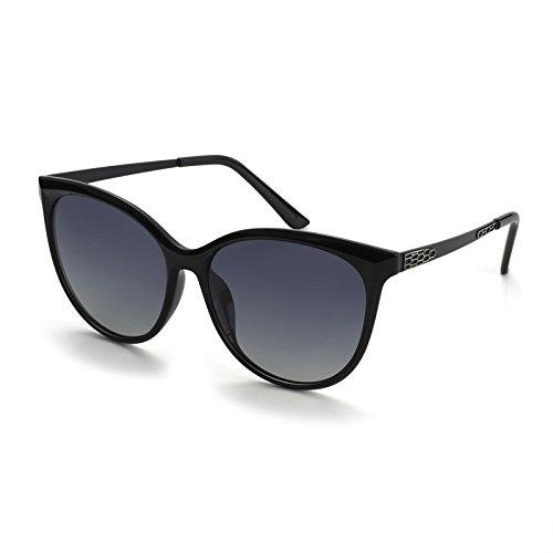 Sol Mujer Gafas Sol de Bastidor Rojo Posterior de TL Parte Gafas Femenina Black de de Sunglasses Gran del polarizadas el de Ojo Gafas la Ronda Gato Moda SpwUg5qx
