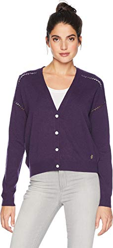 Juicy Couture Women's Embroidered Back Cardigan Plum Medium