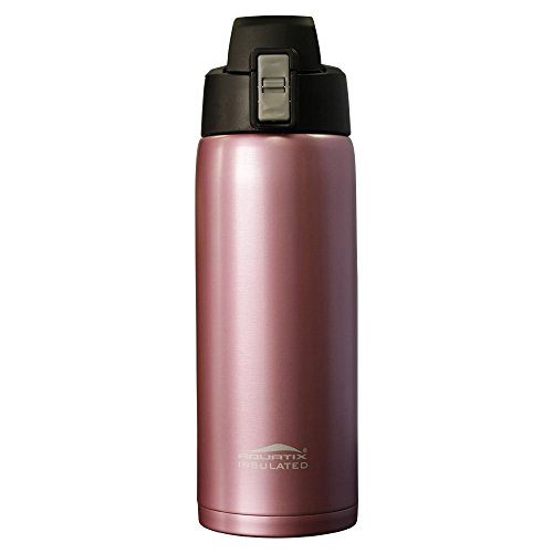 Aquatix (Rose Gold, 21 Ounce) Pure Stainless Steel Double Wall Vacuum Insulated Sports Water Bottle with Convenient Flip Top - Keeps Drinks Cold for 24 Hours, Hot for 6 Hours