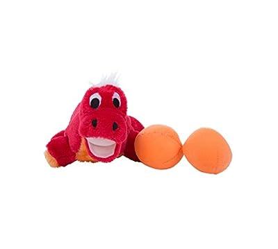 Outward Hound Kyjen 31007 Egg Babies Dinosaur Plush Dog Toys Squeak Toy Dog Puzzle, Large, Red