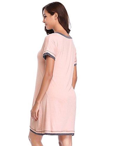Cotone Notte da da Camicie Notte V Donna Corte Collo Lusofie Rosa Maniche Biancheria Contrasto RIqgBw