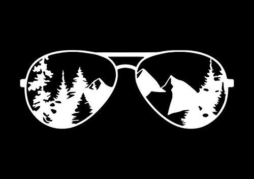 Creative Concept Ideas Sunglasses Mountain Reflection CCI Decal Vinyl Sticker Cars Trucks Vans Walls Laptop White 7.5 x ()