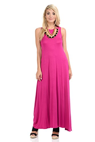 Pastel by Vivienne Women's Sleeveless Maxi Dress with Pockets Large Magenta ()
