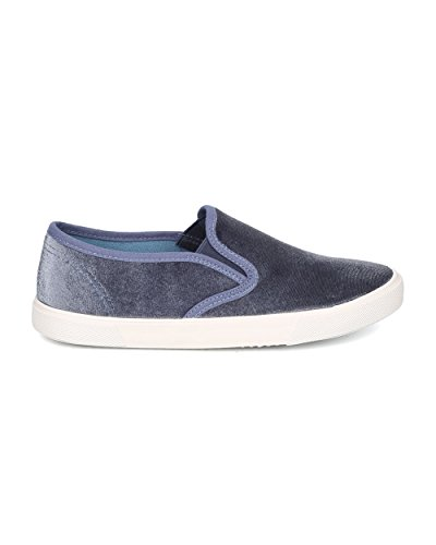 Ice Top Qupid School Women Casual Sneaker On Blue Low Classic Everyday Slip Sneaker GF74 Velvet WrOTxgnW