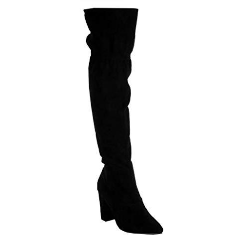 Scarponi Scarponi PON Tacco Stivali Angkorly Angkorly Foderato CM Blocco Moda Alto Alti Scarpe Stivali 9 a Frange Elegante Donna di Flessibile Nero PON Ginocchio Pelliccia AqxvfYwx