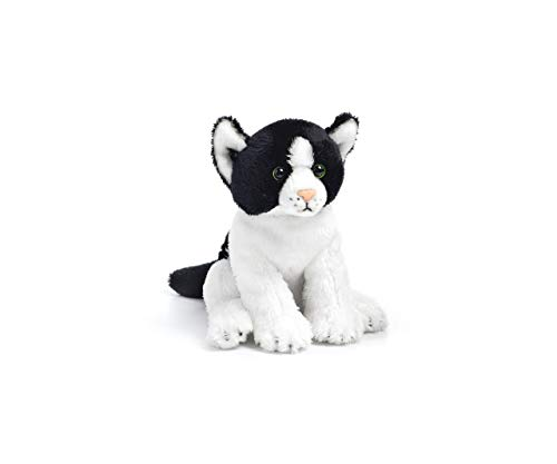 DEMDACO Black and White Sitting Cat Children's Plush Beanbag Stuffed Animal Toy ()