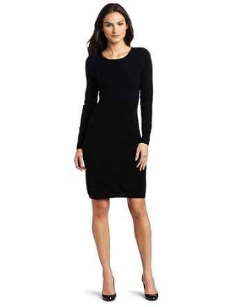 Christopher Fischer Women's 100% Cashmere Long Sleeve Crew Neck Dress, Black, Large