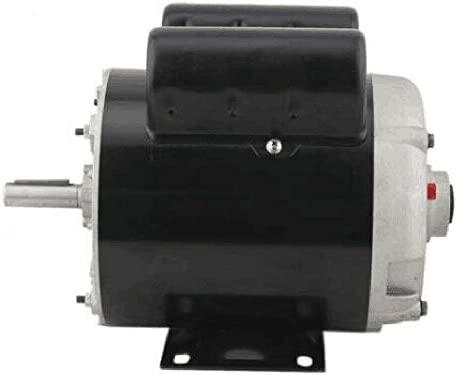 """31wtC4hfkfL. AC Air Compressor Electric Motor 2 HP SPL 3450RPM Single Phase Electric Air Compressor Motor 120V/240V 56 Frame 5/8"""" Shaft    Specifications:【HIGH QUALITY MATERIAL】Air Compressor Electric Motor, made of high quality steel, rigid base, mounting bracket included, able to withstand harsh industrial applications. Equipped with UL approved manual thermal overload, capacitors and high quality ball bearings to ensure the lifetime.【POWERFUL AC MOTOR】Powerful AC motor, high starting torque, reduced starting amperage design to ensure the reduced voltage starting at rated load. Manual overload protection, totally enclosed fan, lubricated with low temperature grease. (Air Compressor Electric Motor, 2HP, SPL, 3450RPM, 56 Frame, 120V/240V, 15/7.5Amp, 5/8"""" Shaft, Single Phase.)【MAIN PARAMETERS 1】Power: 120V/240V 2HP; Speed: 3450RPM; Frequency: 60HZ; AMB 40°C; Frame: 56; Duty: Cont. Compressor; Service Factor: 1.0; Full Load Amps: 15/7.5; NS.CL: F; Single Phase; Open Drip Proof (ODP) Enclosure; Non-Reversible, CCW Rotation Facing Shaft; Thermally Protected; Manual Reset Overload Protection.【MAIN PARAMETERS 2】Overall Length W/O Shaft: 9.75""""; Overall Length With Shaft: 12.3""""; Overall Height: 8.5""""; Overall Width: 6.35""""; Shaft Diameter: 5/8""""; Shaft Length: 2.55""""; Standard Size Keyway: 3/16""""; Package size: 14'' x 11'' x 8''; Shipping weight: 25lb.【SPECIAL DESIGN】Open drip-proof is better used in environment that are relatively clean and dry environments. Special design for air compressor duty. Motor is non-reversible CCW(counter clockwise) only. (Default settings are default low-voltage current. If the need to use high-voltage current, please replace the use of high voltage wiring.)"""