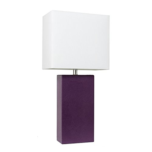 Elegant Designs LT1025-EGP Modern Leather Table Lamp with with White Fabric Shade, Eggplant